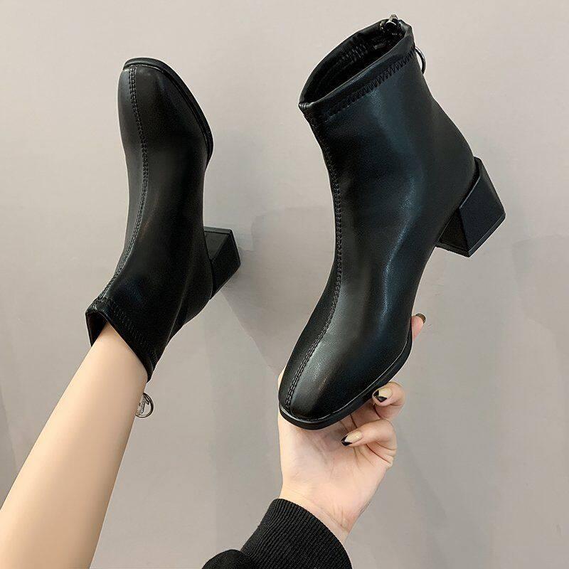 G3513马丁靴女春秋单靴2020新款高跟鞋女方头软皮瘦瘦靴百搭粗跟短靴潮