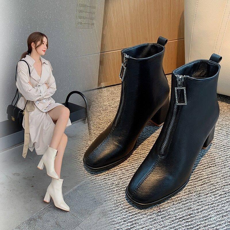GME5253马丁靴女英伦风2020秋冬季新款百搭加绒及裸短靴子高跟鞋粗跟女靴