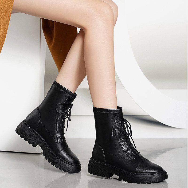GME6318马丁靴女春秋单靴2020新款靴子女弹力靴女平底短靴秋冬百搭瘦瘦靴