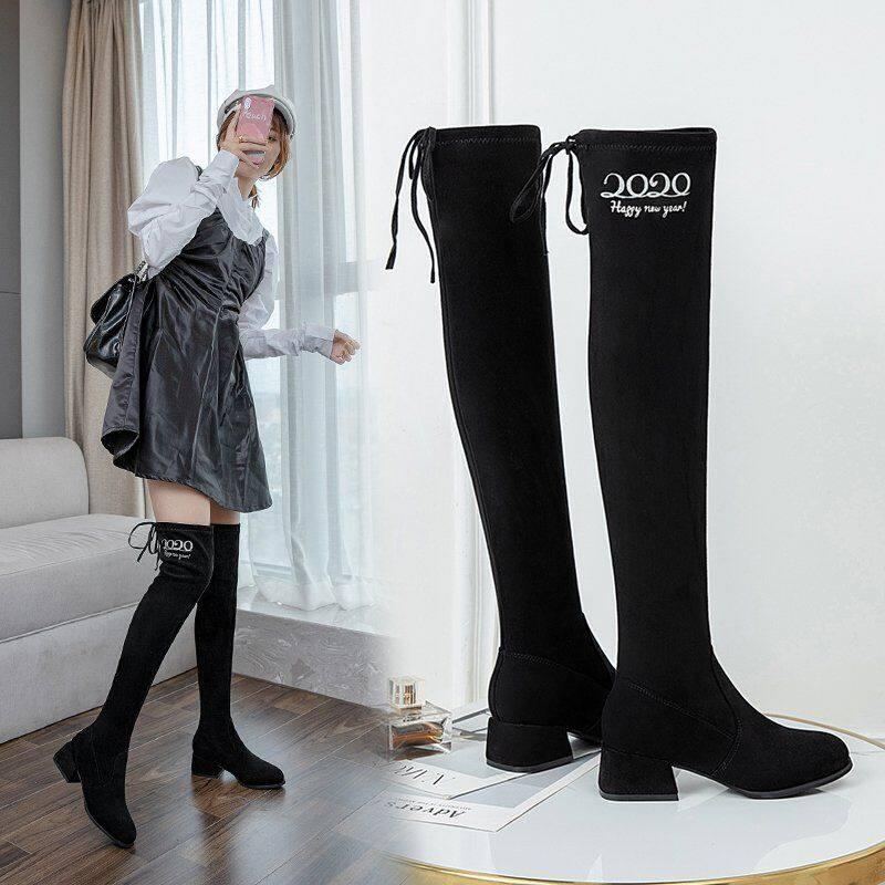 GME-2108过膝长靴女2020秋冬季新款瘦瘦靴平底高跟加绒长筒靴高筒靴过膝靴