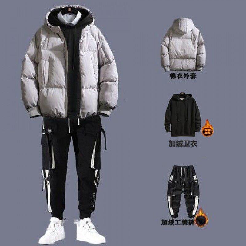 205200546540冬装棉服三件套装男2020冬季加绒加厚衣服新款男士保暖棉服外套潮