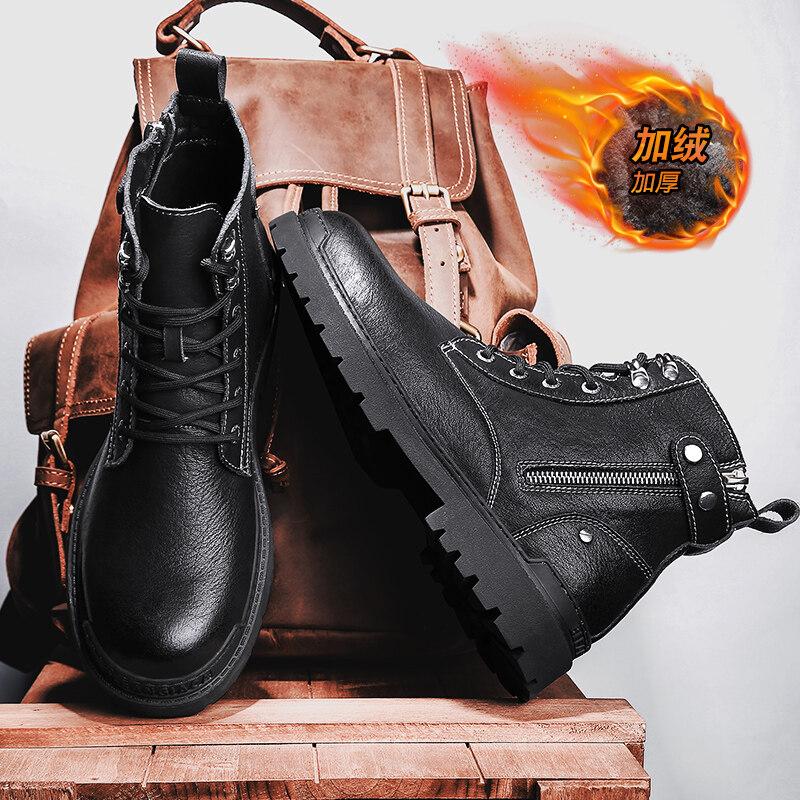 968主推款新款高帮带拉链马丁靴工装靴皮靴 有加棉95元