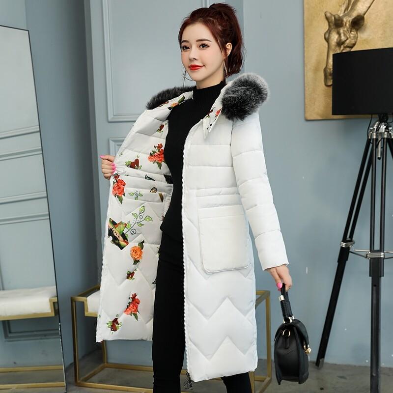 BN8002双面穿羽绒棉服女中长款棉衣棉袄2020新款印花带帽大毛领冬装