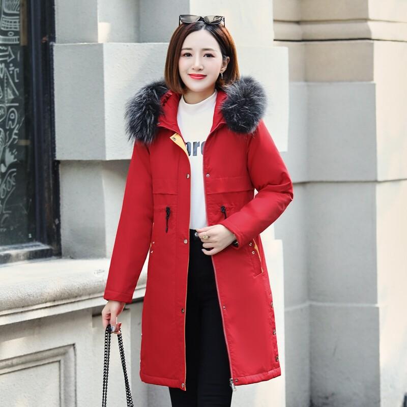 BN9812休闲羽绒服女款韩版宽松显瘦中长款时尚白鸭绒连帽保暧大毛领外套