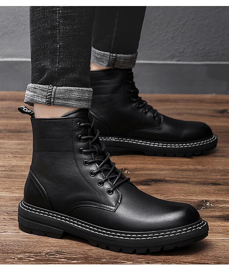 8035马丁靴新款2020潮男高帮冬季加绒保暖英伦风中帮真皮工装靴子