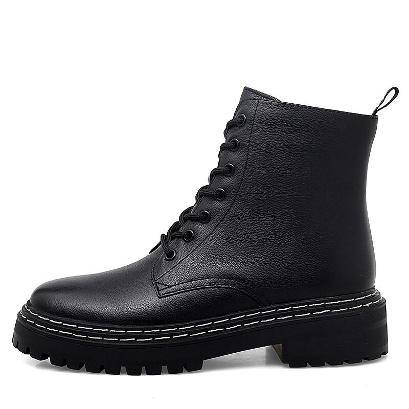 1001马丁靴女2020新款短靴英伦风真皮百搭秋冬季秋鞋中筒厚底加绒