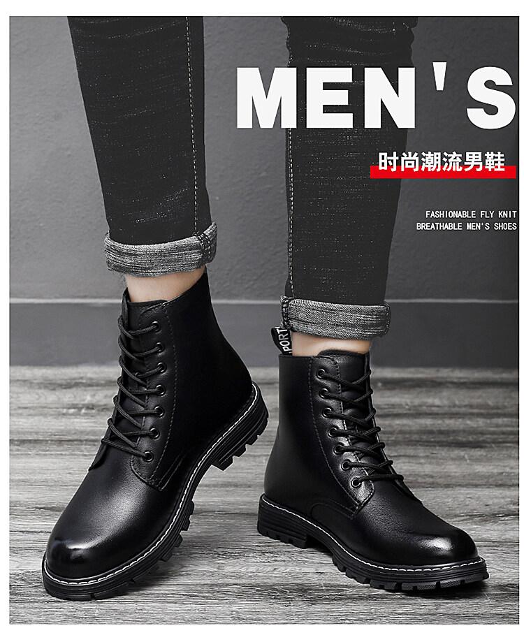 8028马丁靴男高帮韩版加绒保暖工装男靴秋冬季百搭潮鞋英伦风秋季男鞋