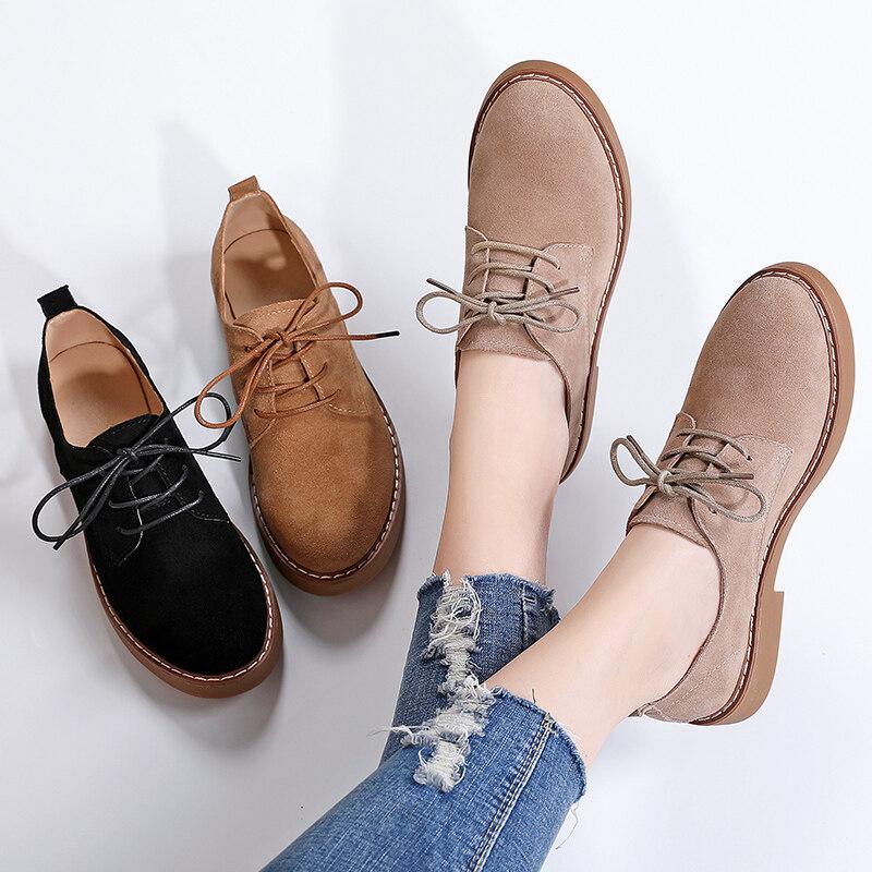 G1872020 春季新款单鞋真皮反绒皮系带休闲女鞋皮鞋35-40码