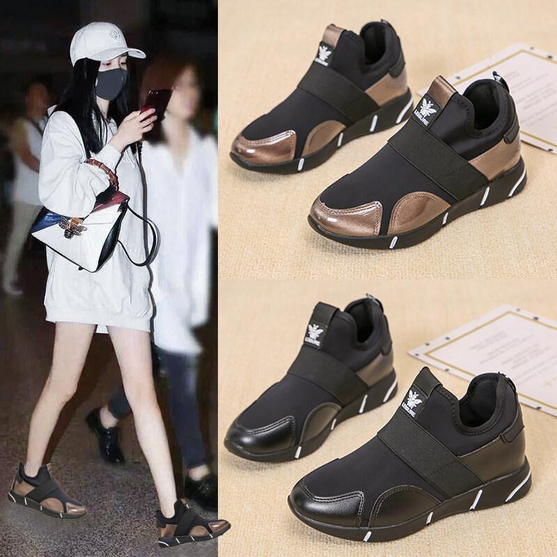 8851大码休闲女中跟内增高舞蹈冬季新款跨境纯色加绒女鞋妈妈鞋