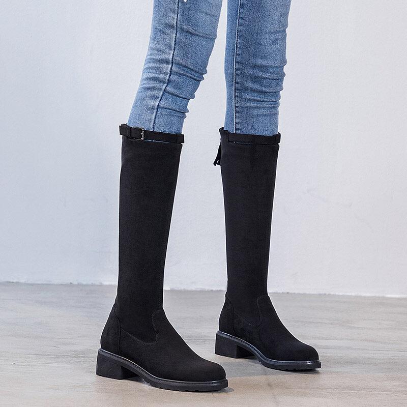 A5516时尚骑士长靴骑士靴女2020年新款秋季不过膝长靴高筒带视频