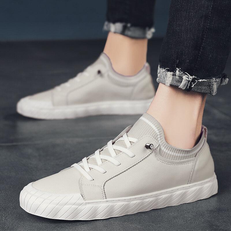 9038迪尔奇9038新品超纤皮袜子口休闲手工板鞋P93