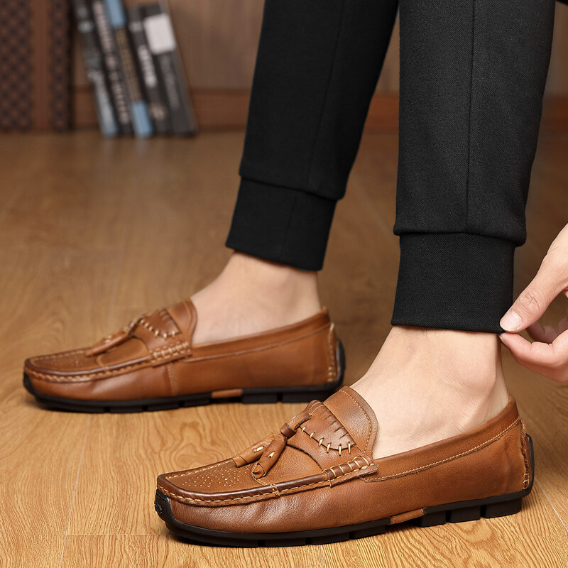 1695迪尔奇鞋业1695,新品爆款头层牛皮流苏休闲手工豆豆鞋38-
