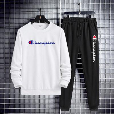 2021年新款冬季休闲套装男生潮流韩版两件套英伦风百搭运动