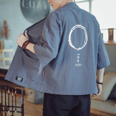 中国风亚麻七分袖开衫男薄款复古日系和服道袍hf03/p40