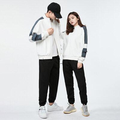 情侣款休闲运动套装2021长袖韩版休闲时尚立领潮流长裤卫衣两件套