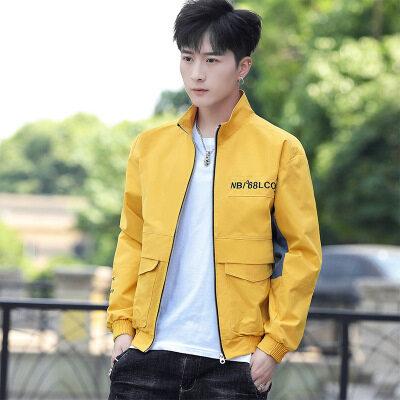 夹克男冬季侧缝插袋黄色休闲立领纯色拉链直下摆韩版青年潮流夹克