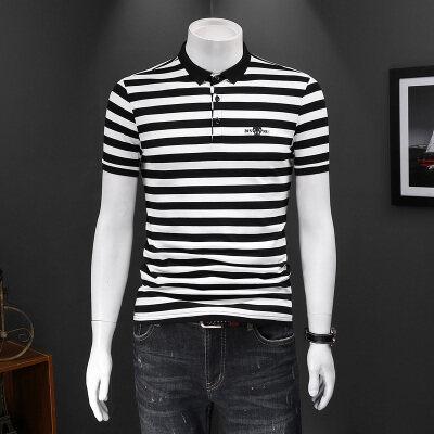 2021新款男士休闲翻领短袖T恤男条纹POLO衫  809P75