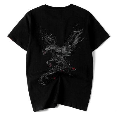 夏季新款中国风凤凰重工刺绣纯棉T恤男士