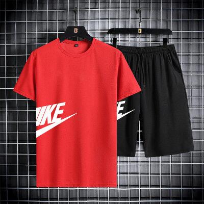 男士短袖T恤套装 2021夏装夏季潮牌休闲圆领一套个性帅气衣服男装
