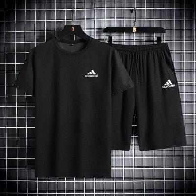 夏季短袖t恤男士2021新款舒适面料休闲套装衣服搭配帅气潮流潮牌T