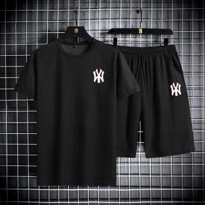 MLB短袖男t恤休闲2021潮牌夏季新款薄男士运动套装速干衣服 圆领