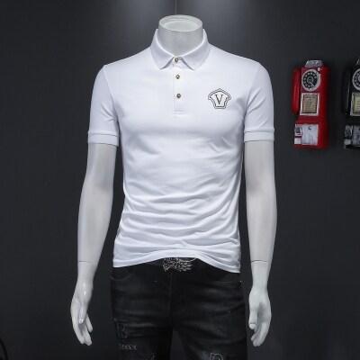 D232     2105  P75 夏装男士2021新款镭射片短袖翻领休闲POLO衫