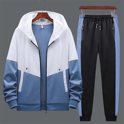 个性卫衣长裤套装男2021春季新款潮牌时尚连帽套头长袖卫衣裤户外