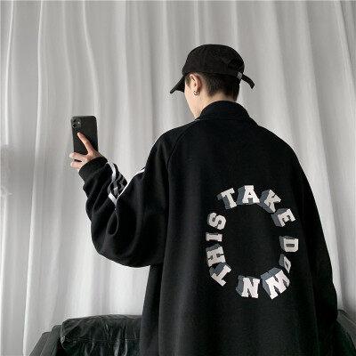 714-3-s603-P80男纯棉外套新款休闲情侣夹克款潮精品拉链衫