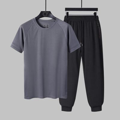 2021夏季冰丝t恤长裤短袖套装男士速干运动高弹裤中年空调裤