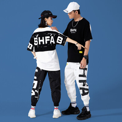 2021夏季t恤男短袖套装男士嘻哈印花潮牌两件套休闲套装 1925-P95