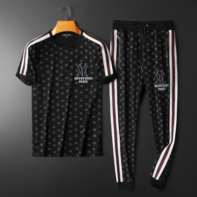 T011 P195 2021夏季新款欧货丝光棉男士休闲短袖运动套装 控价278