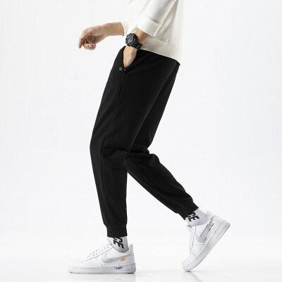 棉质休闲裤男薄款2021春季新款男士韩版修身松紧带青年潮流小脚裤