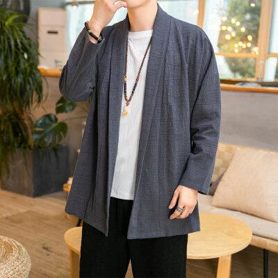 2021春季新款中国风中长款开衫外套男D610P75