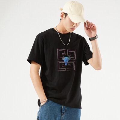 夏季2021新款纯棉短袖t恤男韩版潮牌大码宽松薄款半袖打底衫