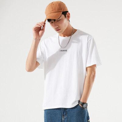 2021春夏季新款男士舒适纯棉短袖t恤情侣装青年宽松半袖打底