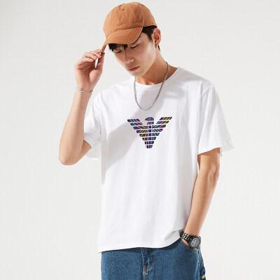 2021夏季新款纯棉短袖t恤男韩版潮牌大码宽松薄款半袖打底衫