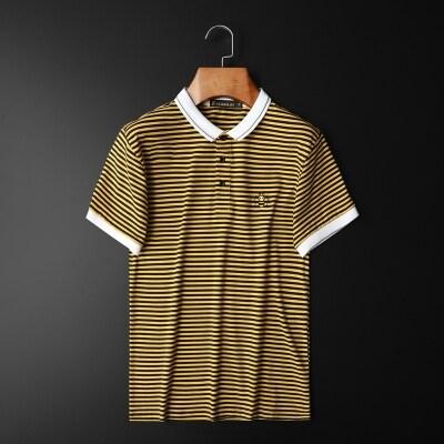 2021条纹夏装新款男丝光棉短袖POLO小蜜蜂刺绣平拍D208-960P75