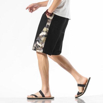 夏季中国风仙鹤薄款大码五分裤男棉麻古风短裤4031-AK61-P40 控50