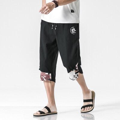 100棉麻 休闲夏季薄款宽松中裤抽绳亚麻7七分短裤K228 K229 P28