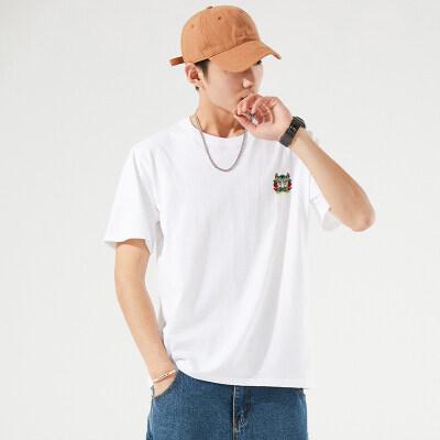 2021夏季新款男士舒适纯棉短袖t恤情侣装青年宽松半袖打底