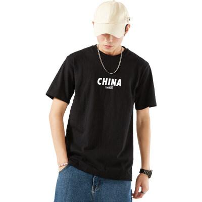 夏季男士短袖t恤男纯棉上衣宽松大码潮流半袖China印花圆