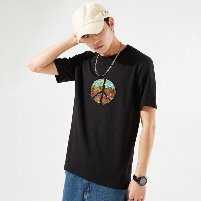 2021新款男士短袖t恤夏季男装体恤潮流印花上衣青年纯棉宽松