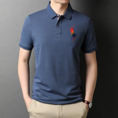 夏款全棉polo衫男短袖t恤小翻领体桖半袖衬衫领上衣5212HDD P70
