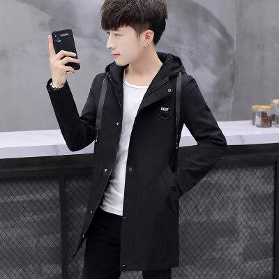 秋冬男士纯色中长款连帽风衣 韩版修身学生夹克外套FY129P70
