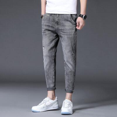 时尚男装 2021新款牛仔裤韩版修身九分裤