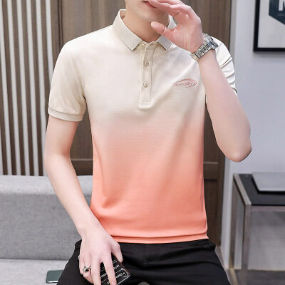 2021夏季新款男渐变短袖polo衫t恤青少年帅气时尚4002-T033-P30