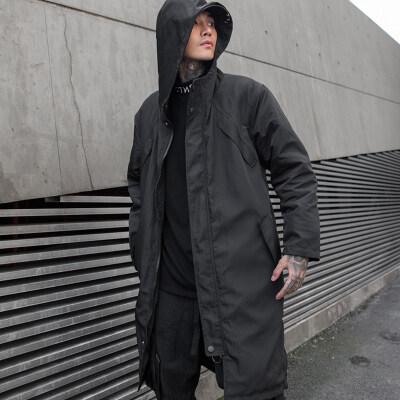 秋冬男士中长款加厚外套国潮暗黑系休闲连帽棉衣外套 W178 P125