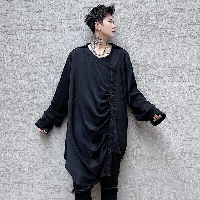 2021春夏男士衬衫暗黑系设计感小众宽松褶皱不对称衬衣 C205 P75