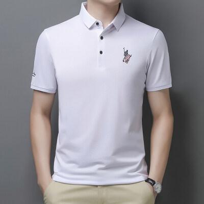 钱塘2025 夏季男士潮流短袖polo衫T恤翻领男装商务休闲21310P55