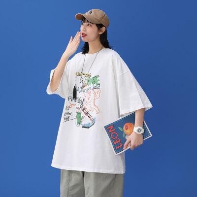 中性风-敏紫   DT6559-P20   100%棉   夏季大码休闲短袖印花上衣